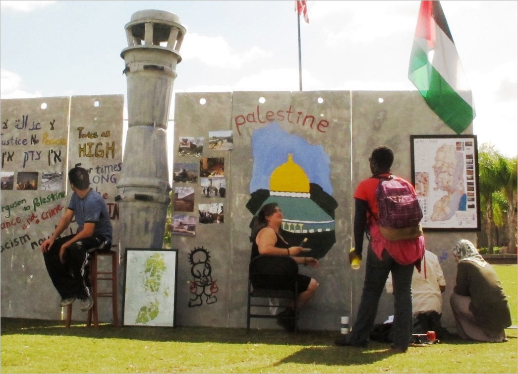 The Orlando, Florida chapter of Students for Justice in Palestine built a mock separation wall this spring.