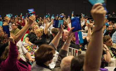 Members vote during the United Church of Christ General Synod 2015 in Cleveland. Photo courtesy of United Church of Christ via Flickr